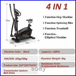 4 in 1 Cross Trainer Elliptical Trainer Exercise Bike with Seat Heart Rate Sensors