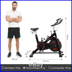 Black Exercise Bike Indoor Home Fitness Cardio Workout Training Upright Bicycle