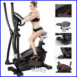 Cross Elliptical Trainer & Exercise Bike with Seat Home Fitness Workout Machine