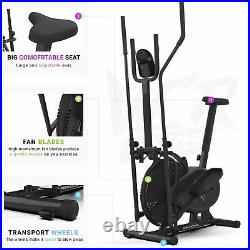 Deluxe 2-in-1 Cross Trainer & Exercise Bike Fitness Cardio Workout With Seat