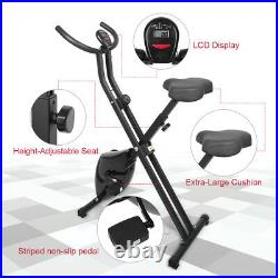Foldable Magnetic Exercise Bike LCD Bicycle Fitness Trainer Weight Loss Machine