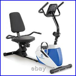Marcy ME-1019R Heavy-Duty Magnetic Adjustable Recumbent Home Exercise Bike, Blue