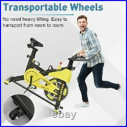 Spinning Exercise Bike 6kg Flywheel Indoor Workout Fitness LCD Monitor Yellow